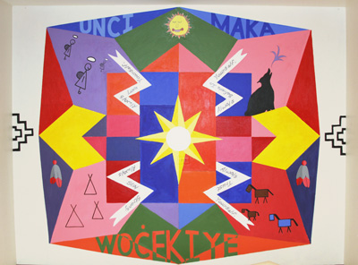 St. Joseph's art room has a new mural, thanks to the Lakota children and artist Markus Tracy.