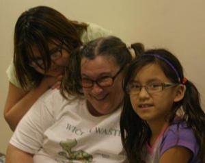 The Lakota children love their teachers at St. Joseph's Indian School!