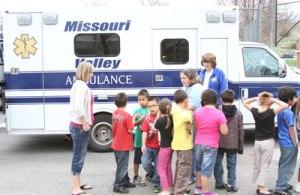 Chamberlain paramedics visited St. Joseph's Indian School for Native American Career Day.