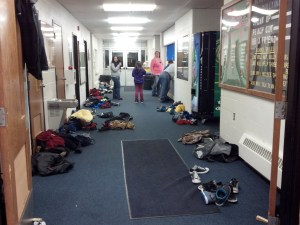 When the Lakota students come to play in the gym, they need to leave their heavy coats in the Rec center hallway.