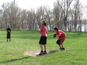 The Lakota children play softball each spring.