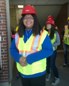 While learning about how buildings are constructed, the girls wore regulation Personal Protective Equipment, or PPE.