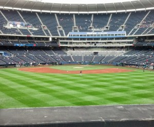 The boys' view from their seats during the day game.
