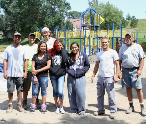 The Lakota students introduced themselves and thanked the crew working on St. Joseph's new playground.