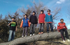 Each year on their hike, the boys stop at the same tree for a picture.