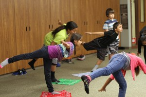 Lakota (Sioux) students learning ballet moves.