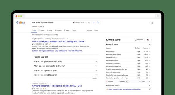 keyword research Keyword Surfer