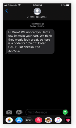 Abandoned Cart Text Message