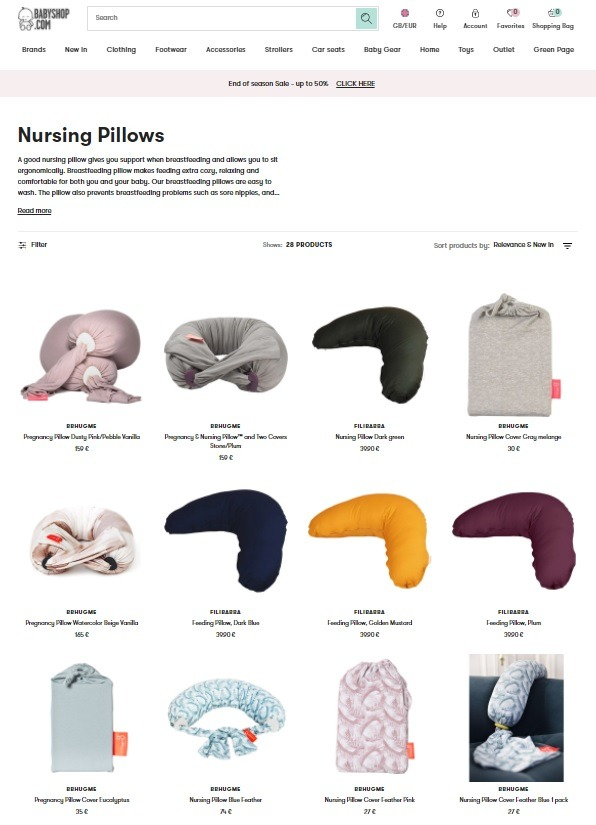 ecommerce baby store example store