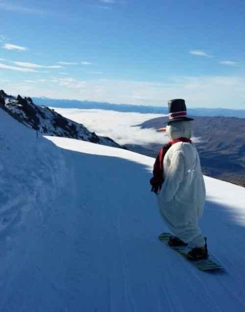snowboarding snowman at Cardrona