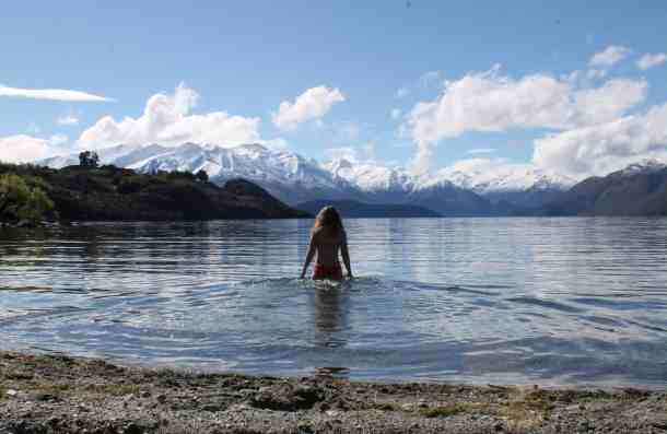 Refreshing swim in Lake Wanaka.