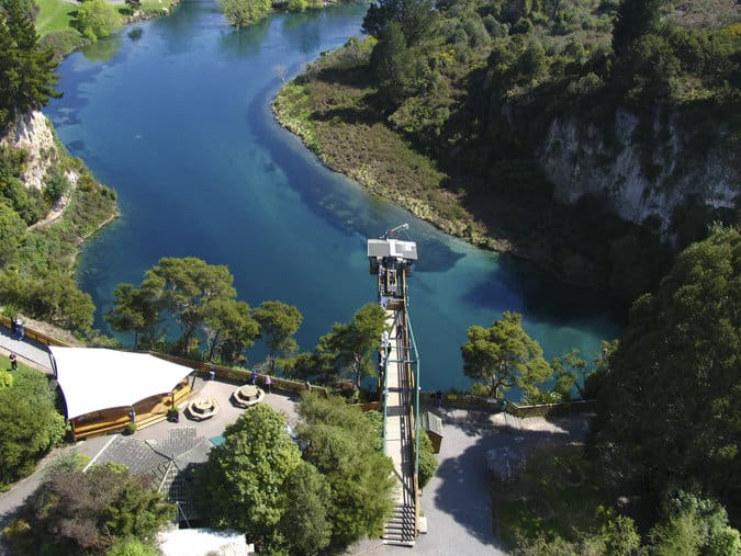 Taupo Bungy's platform over the Waikato River
