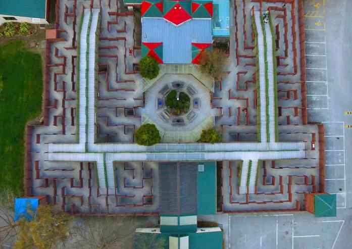 Puzzling World - Great Maze drone shot - Stray NZ