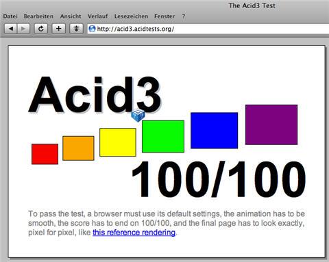 Safari 3.1 unter Windows besteht den Acid3-Test mit 100 von 100 Punkten.