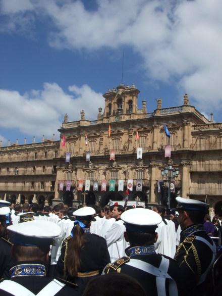 Facade of the Plaza Mayor in Salamanca, Spain