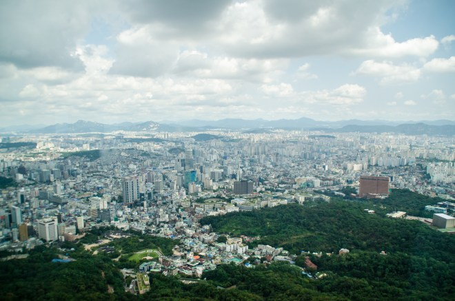 One of many stunning views of the city from Seoul Tower.
