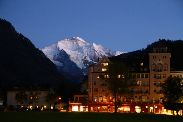 The view from a park in the middle of Interlaken after sunset.