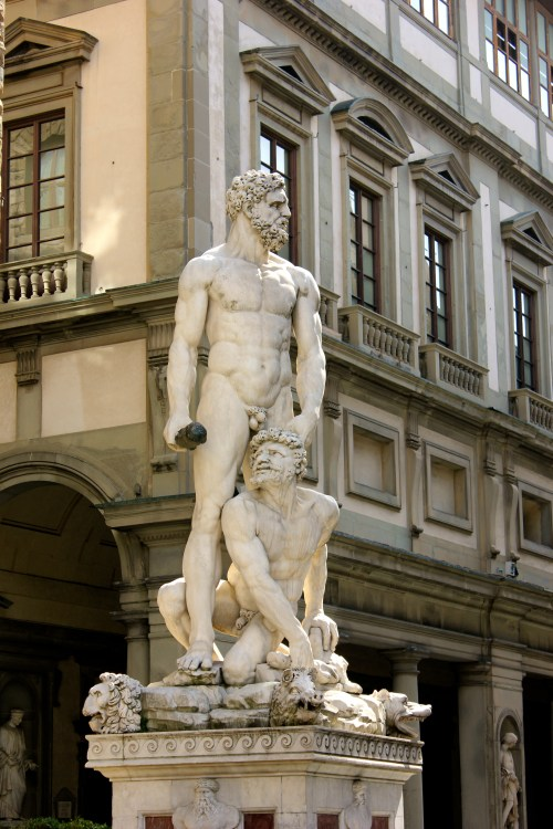 """This statue """"Hercules and Caco"""" is also in Piazza Signoria and is done by Bandinelli. It's right next to the copy of Michaelangelo's David."""