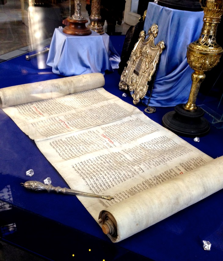 They also have a museum upstairs displaying items and explaining some history. This is an old Torah.