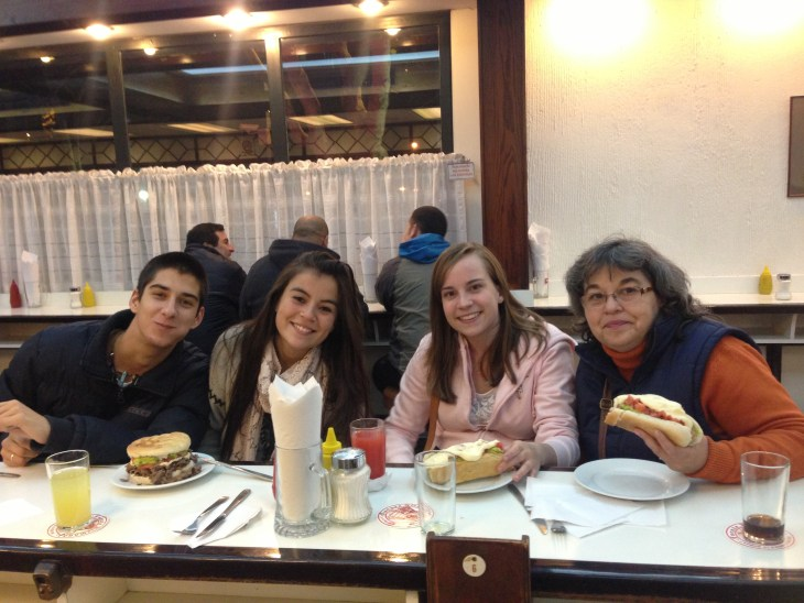 Eating 'completas' with Gladys's and family!