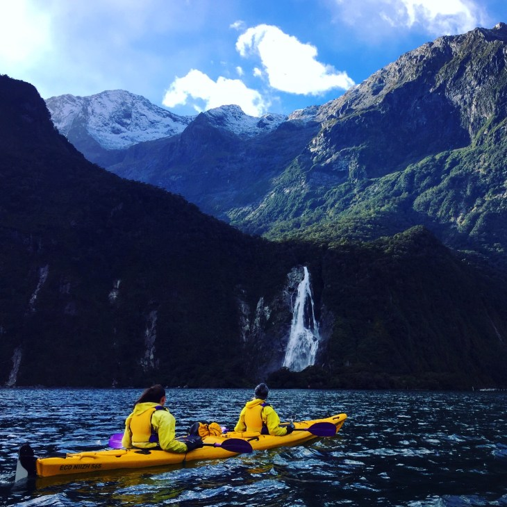 Thankful for a sunny day in Milford Sound during our kayaking adventure.