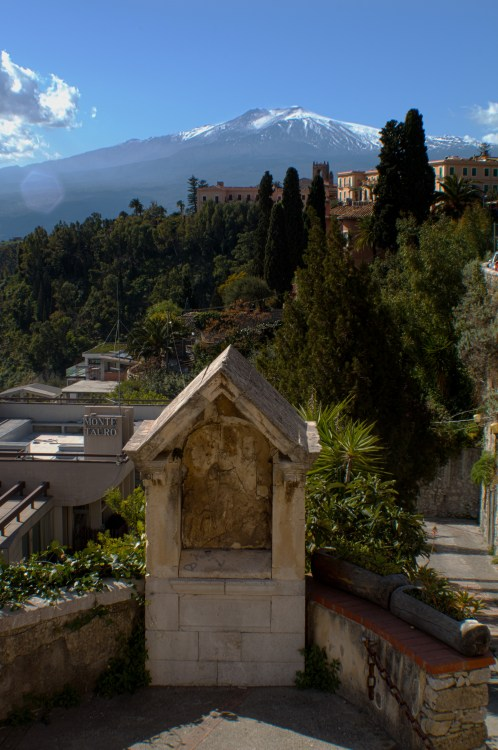 The top of Mount Etna from the Trevelyan Gardens.