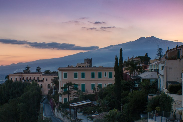 Mount Etna at sunset from our Airbnb.