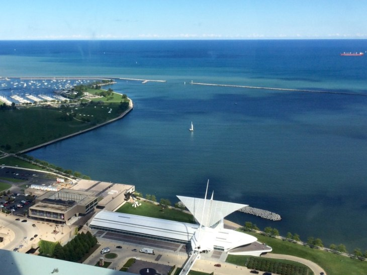 Milwaukee Art Museum and Lake Michigan from above, Wisconsin.