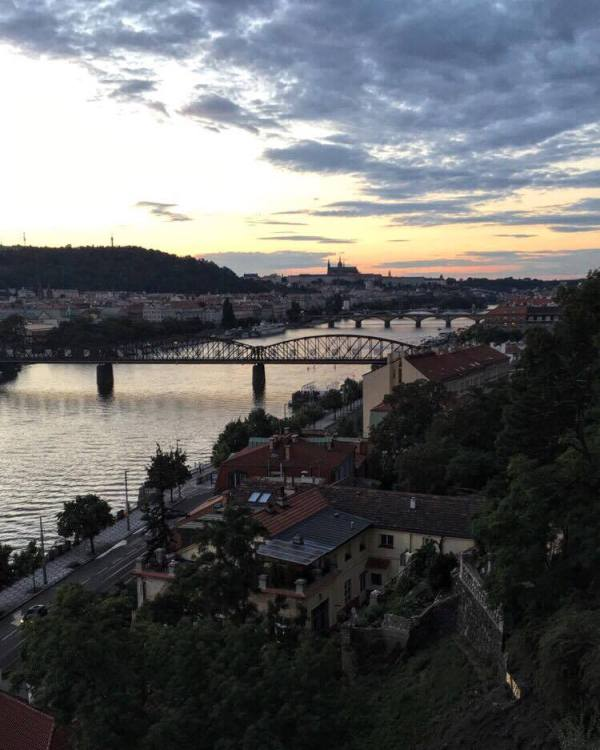 A view of the sunset in Prague from St. Paul Basilica