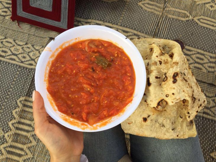 The tasty dish called Gallayet Bandora and bread that I was introduced to during an ISA excursion to Ghor!