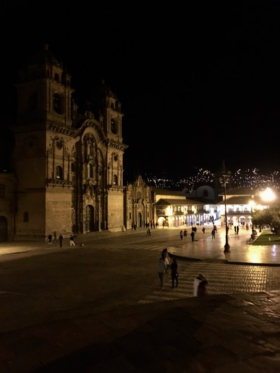 Our host family took us to the stunning Plaza de Armas at night!