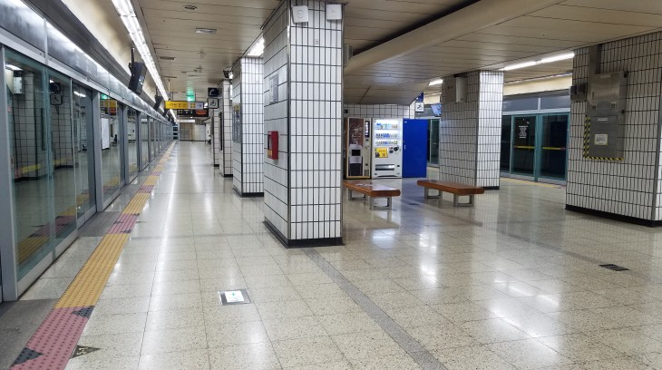 empty subway station in Seoul