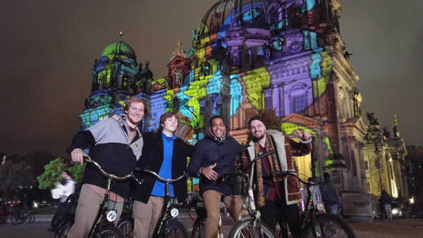 ISA students on bikes at the new study abroad program in Berlin.