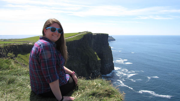 ISA student at the Cliffs of Moher in Ireland.