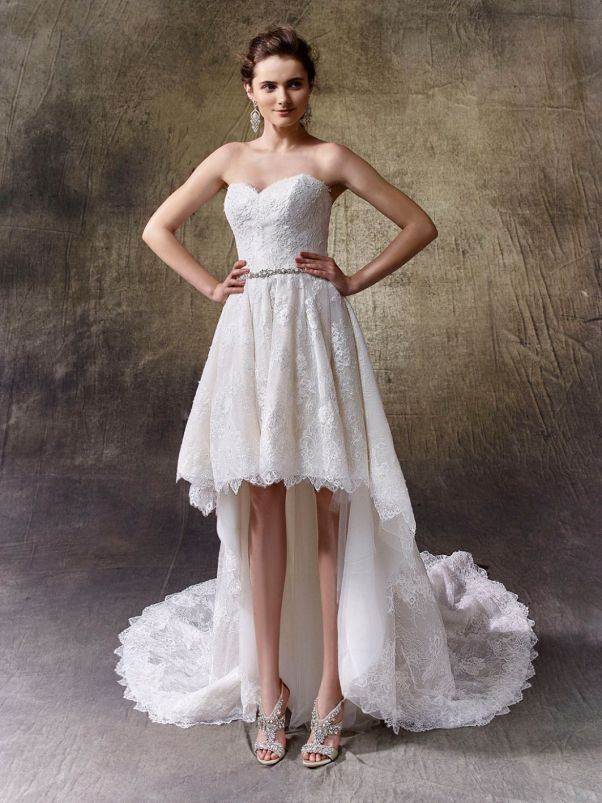 Enzoani Letty short lace wedding dress with sleeveless neckline