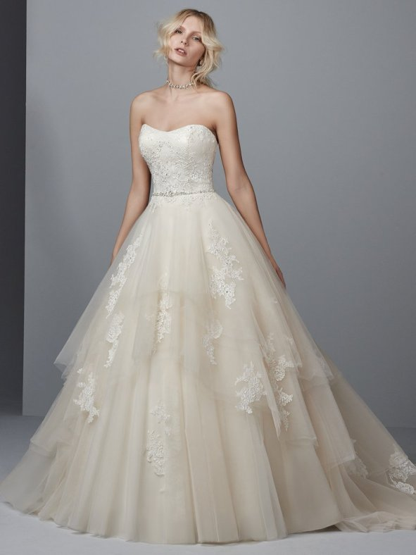 Sottero and Midgley Idris ball gown wedding dress with a sleeveless neckline