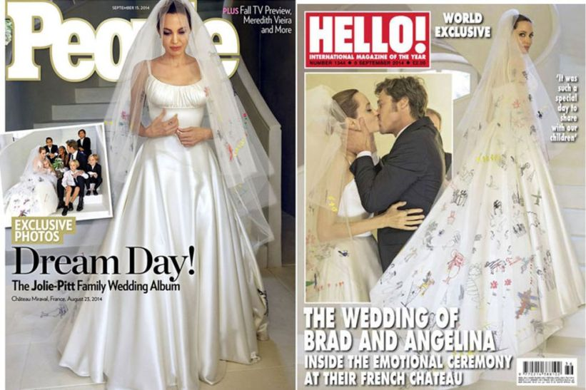 Angelina Jolie versace wedding dress on magazine cover