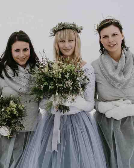 a bride in shades of gray winter wedding