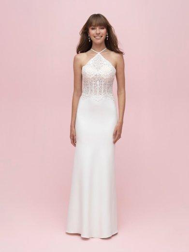 halter neck simple wedding dress for summer allure romance 3203 studio i do virginia beach
