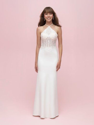 halter neck simple wedding dress for summer allure romance 3203 studio i do virginia beach