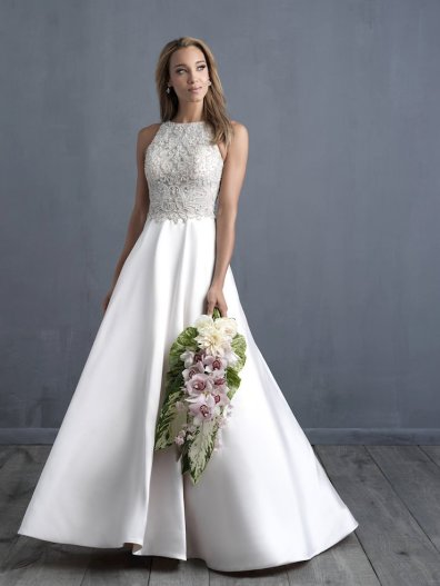a-line wedding dress with silver details for winter allure couture c483 studio i do virginia beach