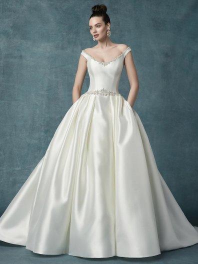 satin ballgown wedding dress with silver details for winter maggie sottero idette studio i do virginia beach