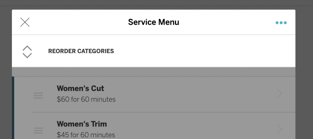 Reorder Service Menu Categories