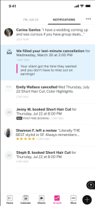 App screenshot that shows a stylists notification of StyleSeat filling a last-minute cancellation.