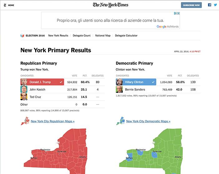 New York Times caucus data visual