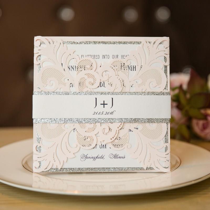 Elegant Blush Layered Laser Cut Wedding Invitation Romantic Pink And Grey