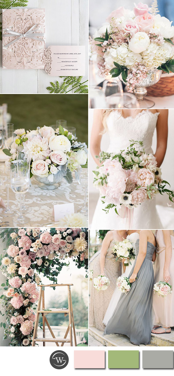 Six Beautiful Pink and Grey Wedding Color Combos with Invitations  Stylish Wedd Blog