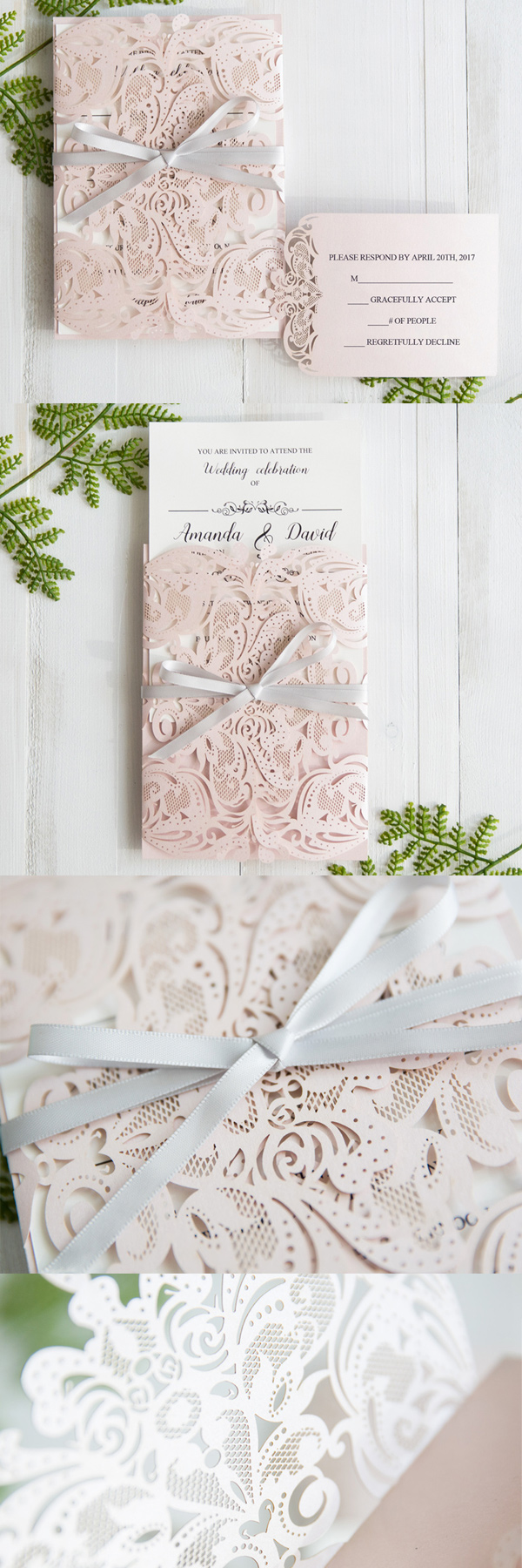 Elegant Blush Pink Laser Cut Wedding Invitation With