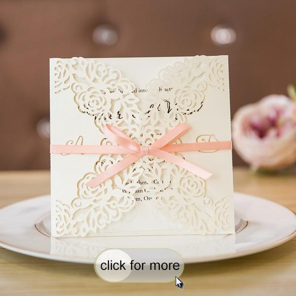 Elegant Custom Fl Laser Cut Wedding Invites With Peach Ribbon