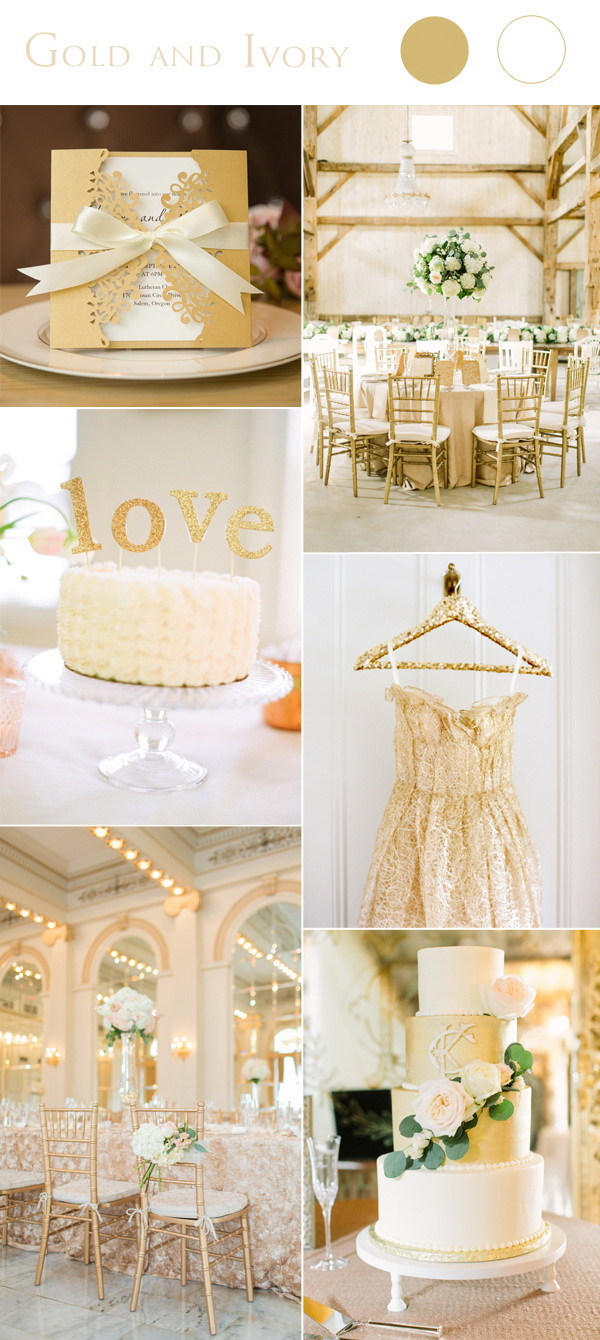 2017 Wedding Color Scheme Trends Gold and Ivory  Stylish